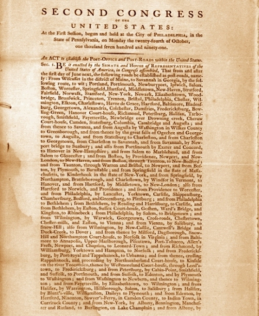 Image result for george washington signed the postal act in 1792